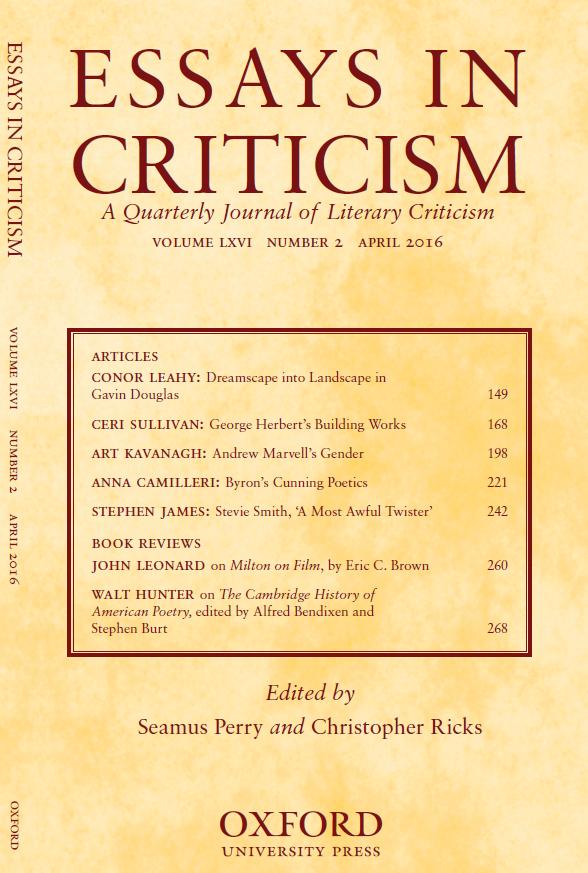 Essays in Criticism cover, April 2016